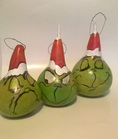 Three Grinch Gourd Ornaments Christmas by lindafrenchgallery