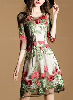 Dresses - $58.51 - Polyester Floral Half Sleeve Above Knee Casual Dresses (1955128542)