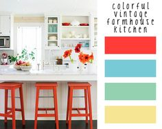 My kitchen walls are poppy red..Room of the week: colorful vintage farmhouse…
