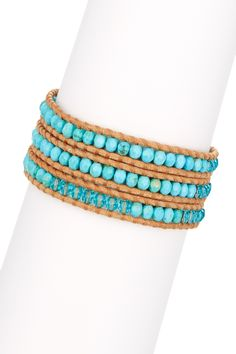 Turquoise & Crystal Beaded Leather Wrap Bracelet by Chan Luu on @HauteLook