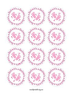 Its a Girl Stickers Pink Baby Shower Labels by MoonLitPrintables