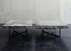 fab. d.i.y. inspiration... natural/rough cut = honed Granite, slab top tables, metal bases...