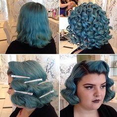 Retro Hairstyles When your curls turn into blue smooth waves. Styling by Vintage Hairstyles Tutorial, Retro Hairstyles, Wedding Hairstyles, Curly Hair Styles, Natural Hair Styles, Rockabilly Hair, Pin Up Hair, Pinterest Hair, Up Girl