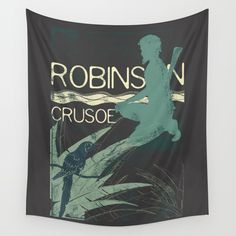 Books Collection: Robinson Crusoe Wall Tapestry. #graphic-design #stencil #illustration #concept #people #vintage #crusoe #book #reading #adventure #island #castaway #literature #robinson #robinson-crusoe #retro #parrot #palm-tree #library #bookstore