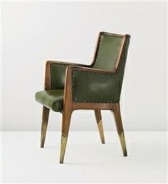 Gio Ponti, Armchair in walnut/leather/brass, 1948