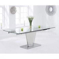 Deluca Glass Dining Table In Clear With Stainless Steel Base ,extendable dining table and chairs,  extendable dining table ebay,  extendable dining table set,  extendable round dining table,  oak extending dining table,  extending glass dining table,  ,oval extending dining table #furnitureinfashion