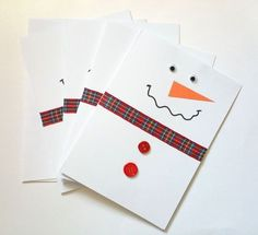 DIY Christmas Cards: Easy Snowman Cards