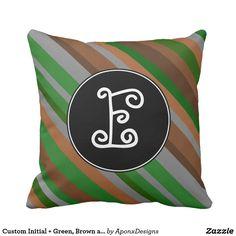 Custom Initial + Green, Brown and Grey Stripes Rustic Design, Grey Stripes, Brown And Grey, Decorative Throw Pillows, Initials, Green, Fun, Gray Stripes, Accent Pillows