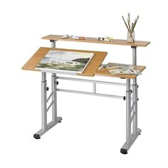 online shopping for Safco Products Split Level Drafting Table, Height-Adjustable, Medium Oak from top store. See new offer for Safco Products Split Level Drafting Table, Height-Adjustable, Medium Oak Home Office Furniture, Rustic Furniture, Diy Furniture, Studio Furniture, Woodworking Furniture, Furniture Stores, Modern Furniture, Drawing Desk, Table Height