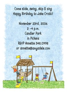 Playground Invitations- What is their favorite thing to do? Go to the playground! A playful scene of happy kids on the playground is on this party invitation!