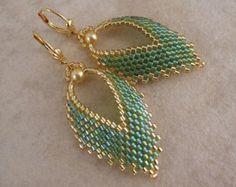 Made To Order - Russian Leaf Earrings - Peridot/Olive Green Rainbow