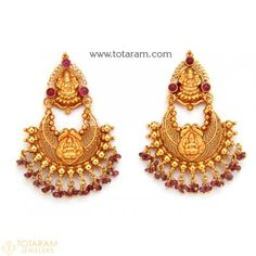 Chandbali Earrings - Temple Jewellery - 22K Gold Lakshmi Drop Earrings - 235-GER7752 - Buy this Latest Indian Gold Jewelry Design in 12.550 Grams for a low price of $744.90