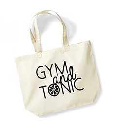 Large Tote Bag 'Gym and Tonic' - Canvas Fun Gin Slogan Travel/Shopper/Beach/Gym Bag (Natural/Black)