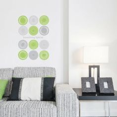 Green and Gray Circles - Removable Home Decoration Wall Sticker Decal
