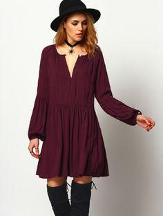 Bell Sleeve V Neck Pleat Dress BURGUNDY | MakeMeChic.COM