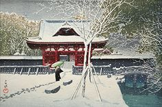 "Japanese Art Print ""Snow in Shiba Park"" by Kawase Hasui. Shin Hanga and Art Reproductions http://www.amazon.com/dp/B00VCFL95W/ref=cm_sw_r_pi_dp_vCuywb1R9ZQ8X"