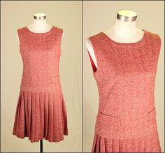 1960s Herringbone Shift Dress S M / by SquirrelFriendVNTG on Etsy, $48.00