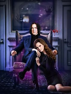 Snape And Hermione, Harry Potter Severus, Harry Potter Fan Art, Severus Snape, Hermione Granger, Gothic Themes, Severus Rogue, Beautiful Library, James Potter