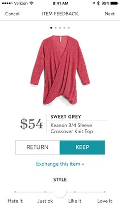 Sweet Grey Keanon 3/4 Sleeve Crossover Knit Top #stitchfix
