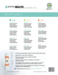 Aroma Inhalers Just Breathe It In DIY Essential Oil Projects Recipe Sheets from Got Oil Supplies (Hip Flexor Essential Oils) Essential Oil Inhaler, Essential Oils For Colds, Essential Oil Uses, Young Living Essential Oils, Essential Oil Diffuser, Breathe Essential Oil, Essential Oils Digestion, Essential Ouls, Clary Sage Essential Oil