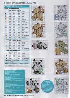 Cross-stitch Cute & Cuddly Baby Bears ABCs, part 2... with the color chart...    Gallery.ru / Photo # 3 - 17 - irinika
