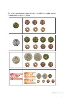 This is a worksheet made for elementary students learning about Money. This worksheet includes labeling the different coins and bills in the Philippines. Counting Money Worksheets, 1st Grade Reading Worksheets, Kindergarten Reading Activities, Money Activities, Kindergarten Math Worksheets, Shape Activities, Math Literacy, Literacy Activities, Teaching Money