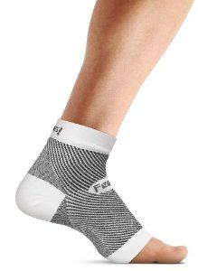 "This is the foot sleeve that compresses the ankle and foot to help combat the painful symptoms of plantar fasciitis.  Unlike bulky ""night splints,"" the sleeve slips on like a sock, providing varying degrees of compression that reduce inflammation, increase circulation, and accelerate the healing process. It can be worn when sleeping to reduce morning heel pain or during the day under socks for continuous support."