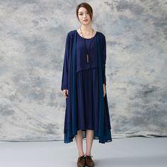 Women spring cotton linen vest dress