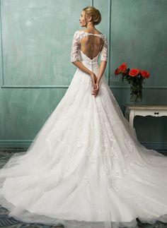 Abiti per matrimonio - $216.43 - A-Line/Principessa Abiti senza spalline Coda a strascico cappella Tyll Pizzo Abito per matrimonio con Fiocco/Fiocchi (0025063225)
