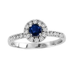 4.0mm Blue Sapphire and 1/4 CT. T.W. Diamond Frame Engagement Ring in 14K White Gold