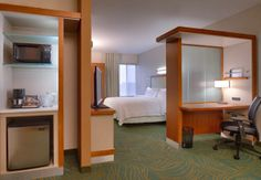 Every room at SpringHill Suites by Marriott, Coeur d'Alene has a microwave, refrigerator, large business desk, pull-out sleeper sofa that sleeps two, and don't forget about the super comfy beds! Come see our hotel!
