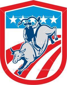american rodeo, animal, artwork, bucking, bucking bull, bull, cow, cowboy, crest, graphics, illustration, male, man, retro, rider, riding, r...