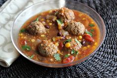 A zesty tomatillo meatball taco soup full of delicious lime flavor.