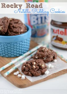 Rocky Road Nutella Pudding Cookies | crazyforcrust.com | The perfect soft cookies filled with Nutella, nuts, and marshmallows!