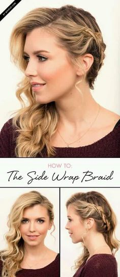 Wedding Hairstyles For Long Hair We LOVE braided hairstyles, long, medium, and short! We love the updos and long intricate fishtails. Check out this side wrap braid tutorial and meet your new favorite hairstyle. Diy Hairstyles, Pretty Hairstyles, Perfect Hairstyle, Hairstyles To The Side, Hairstyle Ideas, Hairstyle Tutorials, Medium Hairstyles, Wedding Hairstyles Side, Fashion Hairstyles