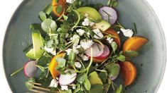 The classic pairing of beets and goat cheese gets a peppery twist with the addition of watercress and radishes. Creamy avocado and acidic red wine vinegar help round out the flavors in this salad. Recipe: Roasted Golden-Beet, Avocado, and Watercress Salad Beet Recipes, Salad Recipes, Cooking Recipes, Healthy Recipes, Healthy Foods, Superfood Recipes, Healthy Salads, Delicious Recipes, Tasty