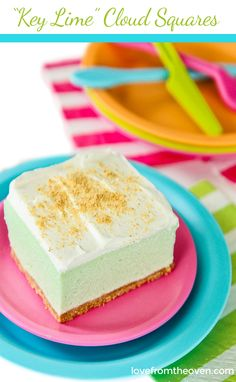 These Key Lime Cloud Squares are a refreshing treat for summer. No need to heat up your kitchen for a delicious dessert, let the freezer do the work! Lime Desserts, Jello Desserts, No Bake Desserts, Just Desserts, Delicious Desserts, Dessert Recipes, Yummy Food, Jello Salads, Sweet Desserts