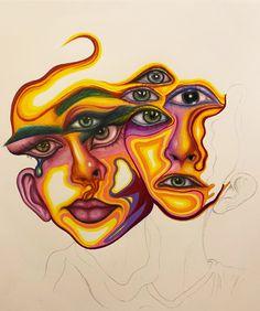 Arte Sketchbook, Funky Art, Hippie Art, Ap Art, Psychedelic Art, Art Portfolio, Art Drawings Sketches, Surreal Art, Art Inspo