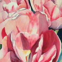 Pink Tulip Watercolor by artist Julie Healy Reade