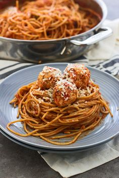 Lighter Spaghetti and Meatballs (Made with chicken and whole-wheat spaghetti)