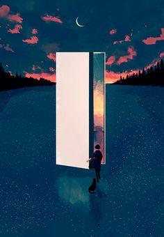 Art Inspiration: Dreamy Surreal Scene By Korean Illustrator Mode Poster, Poster S, Graphisches Design, Kunst Online, Anime Scenery, Grafik Design, Surreal Art, Aesthetic Art, Oeuvre D'art