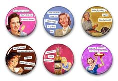 Magnets, Button Magnets, Fridge Magnets, Retro Housewives Magnets, 1 1/4 inch, Best friends gift, Hostess Gift, SET OF 6. by RubysNeedfulGifts on Etsy