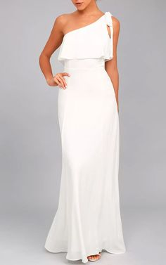 Purpose White One Shoulder Maxi Dress via @bestmaxidress