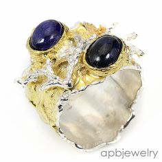 Handmade Fine Art Natural Blue Sapphire 925 Sterling Silver Ring Size 8.5/R34360 #APBJewelry #Ring