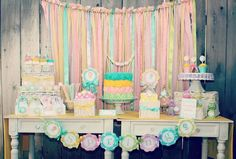 Pretty dessert table & backdrop! Summer Bliss Party via Kara's Party Ideas | Kara'sPartyIdeas.com #Summertime #Soiree #Party #Ideas #Supplies #desserttable #backdrop #wedding