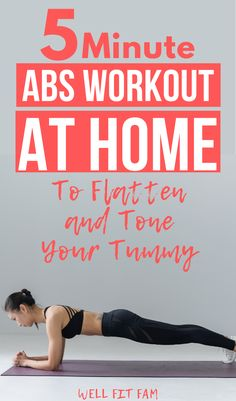 5 Minute Abs Workout At Home to Flatten and Tone Your Tummy 5 Minute Abs Workout, Fast Ab Workouts, Workout For Flat Stomach, Best Cardio Workout, Ab Workout At Home, Abs Workout For Women, At Home Workouts, Stomach Workouts, Workout Fitness