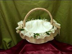 Shabby Chic Home Decor Wedding Gift Baskets, Wedding Gift Wrapping, Wedding Gifts, Cloth Flowers, Burlap Flowers, Art N Craft, Flower Girl Basket, Basket Decoration, Tray Decor