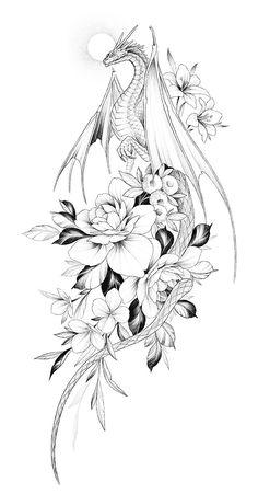 Bild Tattoos, Dope Tattoos, Anime Tattoos, Body Art Tattoos, Small Tattoos, Dragon Sleeve Tattoos, Dragon Tattoo Designs, Dragon Tattoo Drawing, Tattoo Design Drawings
