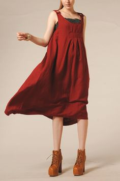 Red Dress Linen Sundress with pockets / Party by camelliatune