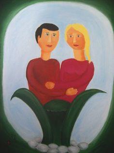 My Work - Adi Lev - Spring lovers Naive Art, Israel, Disney Characters, Fictional Characters, Lovers, Disney Princess, Spring, Painting, Painting Art